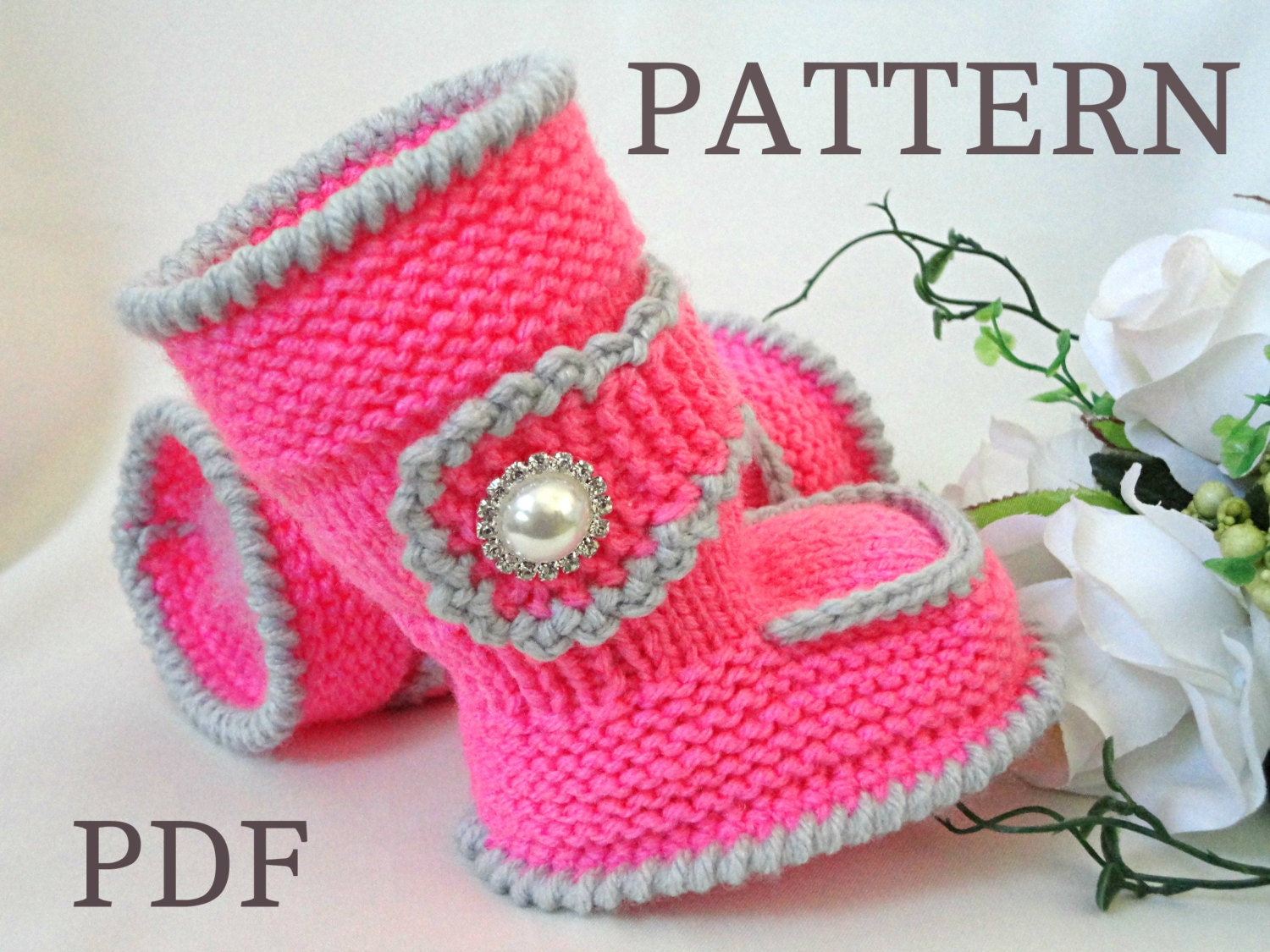 Knitting PATTERN Baby Booties Baby Shoes Knitted Baby Uggs