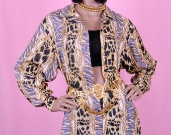 90s Vintage Leopard Print Blouse 100% Silk S/M