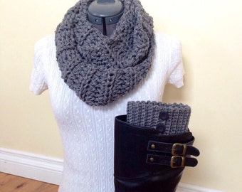READY TO SHIP! Boot cuffs with infinity scarf - gray