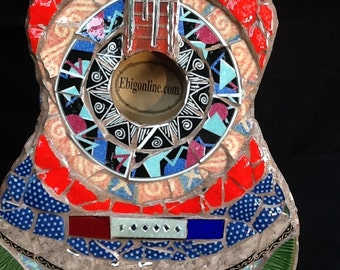 Mosaic Guitar , Unique Gift Idea, Music, Musician, Guitar Art, Birthday Gift ,Mosaic Art,
