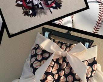 Girls Baseball Ruffle Shorts with Matching Bow