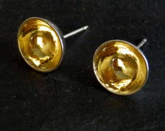 Silver and gold earrings / 22k gold / keum-boo jewelry / bowl earrings / dome earrings / mixed metal jewelry / ready to ship