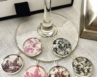 Glass identifiers / Toile de Jouy/ cristal clear resin/ gift host & hostess/ 18 or 20 mm/ set of 6/