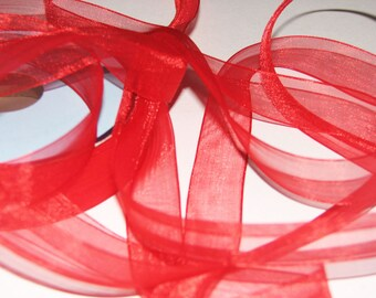 Red chiffon Ribbon by the yard