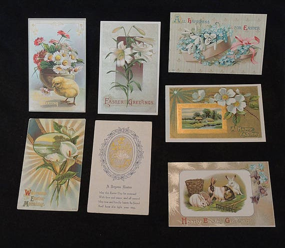 7 Vintage EASTER GREETING POSTCARD Embroidered.. Chick, Lilies, Rabbit, Unused (#2)