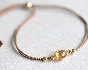 Dainty Citrine Bracelet, Silk Thread, Honey Tone Gemstone, Minimalist Boho Chic, November Birthstone