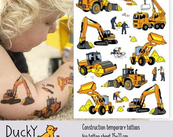 "Temporary tattoo set ""Construction"" with crane, builder, excavator, bulldozer kids tattoos in doodle style. Construction party favors. TA060"
