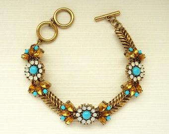 Art Deco Bracelet Jewelry Great Gatsby Bracelet Art Nouveau Bracelet Vintage Bracelet Jewelry Turquoise Bracelet Downton Downtown Abbey