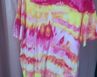 Hand Dyed Pink and Lemon Yellow XL T-shirt