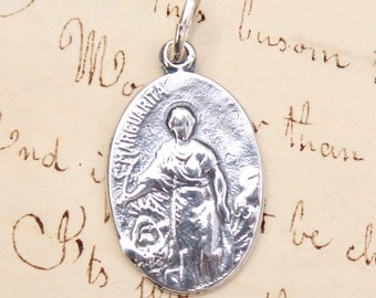 St Margaret Oval Medal - Patron of pregnant women and nurses- Sterling Silver Antique Replica