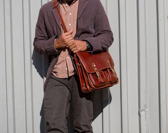 Leather Messenger Bag, Brown Leather Messenger, Mens Leather Briefcase, Laptop Bag, Leather bag, Mens Briefcase (4015BROWN)
