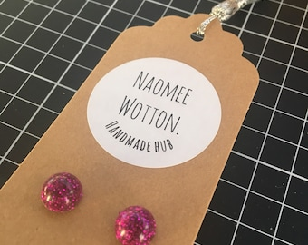Dome Pink Sparkle Resin Earrings - Size 1