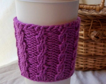Mock Cable Rib Cup Cuddler for Hot or Cold Beverages PDF Knitting Pattern