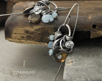 Earrings - raw sterling silver and amber, aquamarine, pink opal or peridot