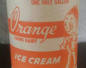 vintage collectible cardboard advertising half gallon ice cream container by ORANGE Farms Dairy seal-rite cylindrical