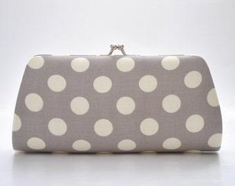 Medium cream dot in gray - Bridesmaid Clutch - Custom made clutch - Wedding clutch - Gift idea - For her