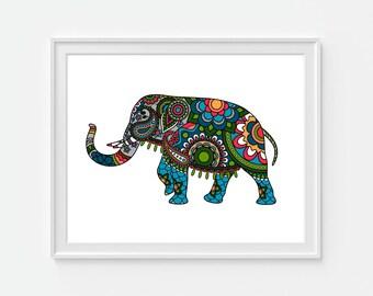 Indian Elephant Art Print, Elephant Art, Indian Artwork, Boho Art, Bohemian Art, Animal Art Print, 5x7, 8x10, 11x14 Wall Decor