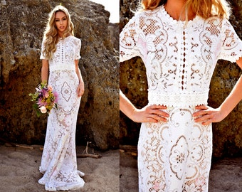Vintage Multicolor Lace Short Sleeve Scallop Boho WEDDING Dress Gown Made with Authentic Lace W/ Mini Train Saldana Vintage OOAK Helena