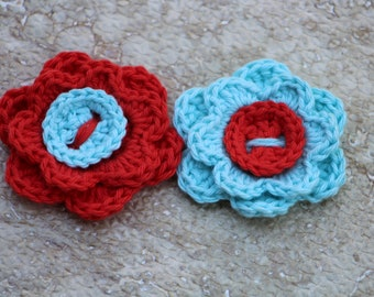 Crochet flowers, Crocheted flowers, Flowers, Blue, Shabby chic home decor, Spring decor, Crochet applique, Fake flowers, Set of 2 flowers
