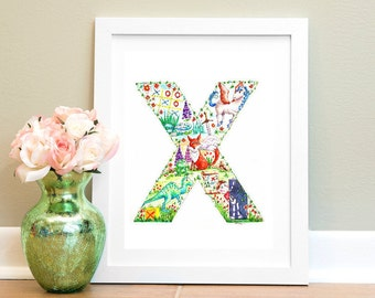 Initial Art Alphabet Watercolour Print X is for.... Alphabet Letter Art Illustration Nursery wall art Children's Name Art