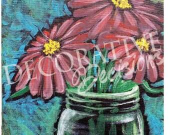 Red Daisies, Farm, Flowers, Daisies, Mason Jars, Country, Home Decor, Wall Art, Prints, Original Acrylic Painting