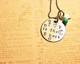 I love you to the moon and back  stainless steel necklace star charm pearl bead
