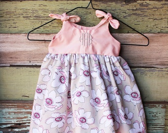 Magnolia dress, Girls Monogrammed pink dress, newborn 0-3, 3-6, 6-12, 12-18, 18-24 months, spring baby clothes, easter, coming home outfit,