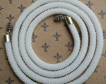 Handmade crocheted knitted beaded necklace white