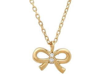 Gold Bow Tie Necklace, Diamond Bow Pendant, Small Bow Necklace, 14K Gold, Bridesmaid Gift