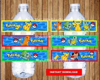Pokemon bottle labels, Printable Pokemon water bottle labels, Pokemon party water labels Instant download