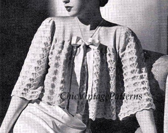 Ladies Bed Jacket ... 1940's Knitted Bed Jacket ... PDF Knitting Pattern ... Attractive Pattern ... Short or Three Quarter Sleeves