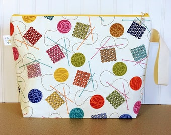 Large Knitting Bag, Knitting Project Bag Zipper, Zippered Knitting Bag, Project Bag , Crochet Project Bag, Knitting Tote Bag