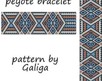 Peyote bracelet pattern for beading Pattern beaded Bracelet pattern Delica pattern Seed bead pattern Geometric pattern Peyote cuff pattern
