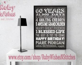 Personalised 60th Birthday Chalkboard Printable