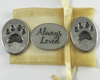 Set of 3 Pet Paw Print Always Loved Inspiration Coins with Organza Bag
