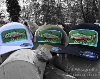 Embroidered Brook Trout Patch Trucker Hat