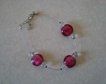 Simple bracelet pink and white transparent
