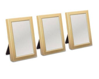 Gold Mini Frames with Easel Back - Set of 3 - Wedding Favors Place Card Photo Frames Party Decorations Gifts MW14133