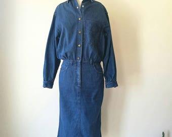 Vintage Jack Mulqueen NYC denim button up shirt dress