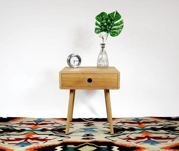 Mitte Jahrhundert Nachttisch Mit Schublade, Moderne Nachttisch, Eiche  Nachttisch Mitte Jahrhundert Nachttisch, Mid Century, Modern, Möbel
