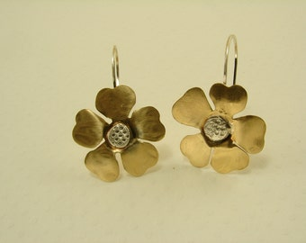 Brass and Sterling Silver Flower Earrings, Available in Copper also
