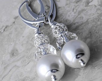 Sterling Silver Long Leverback Earrings Briolette  & White Pearl Crystals from Swarovski®