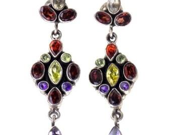 925 Sterling Silver, Garnet Earrings, 1 Pc
