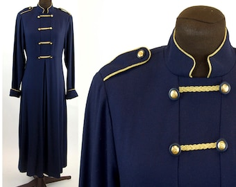 1980s Military inspired dress navy blue gold braid epaulettes gold buttons maxi dress Susan Bristol Size M