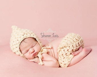 SET Cream Puff Bonnet and Shorts Newborn Photography Props