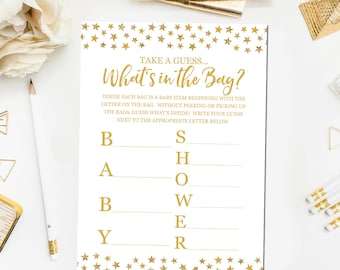 Captivating Whatu0027s In The Bag Baby Shower Game, Baby Shower Game Printable, Gold Baby  Shower Games, Twinkle Whatu0027s In The Bag Game Instant Download BB7