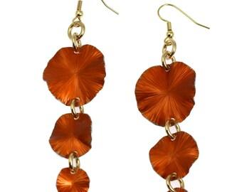 10 Year Anniversary Gift Orange Aluminum Leaf Dangle Earrings 10th Anniversary Gift For Her Ten Year Anniversary Gift Aluminum Anniversary