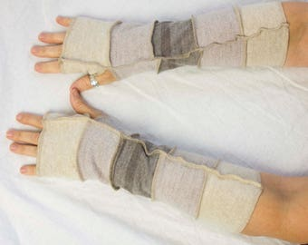 Taupe and Beige Fingerless Gloves, Long Arm Warmers, Texting Gloves for her, Boho Style Upcycled Gloves by Triptastica