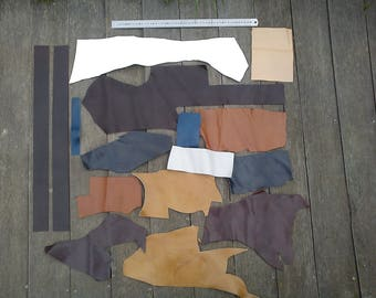 0.6 kg of leather scraps, Browns, Navy Blue, white, 15 pieces