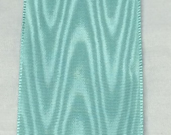 Aqua Moire Ribbon 5 Yards Vintage